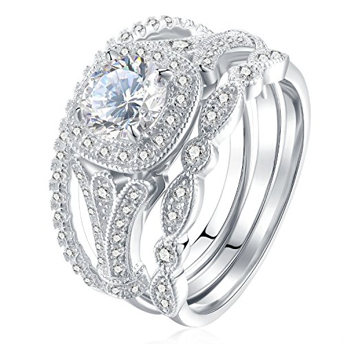 set 2ct round cut white cz 925 sterling silver wedding engagement ring