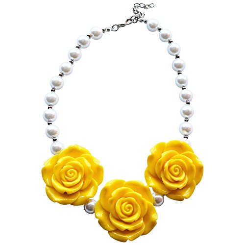 Yellow Rose Girls Chunky Bead Necklace A Girls Best Day